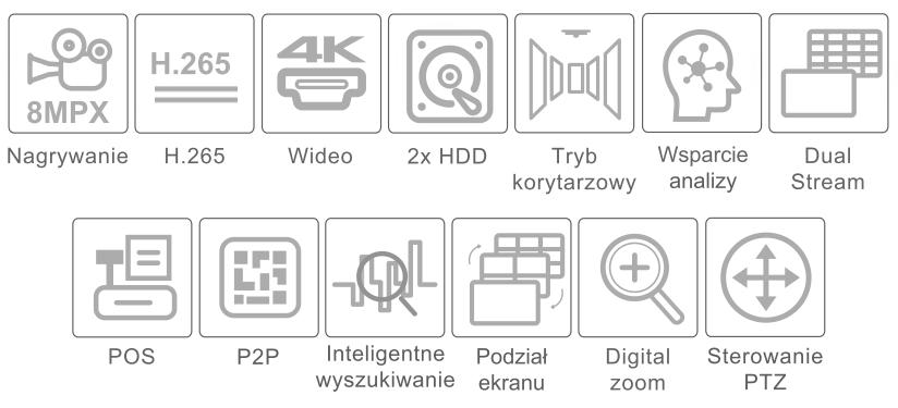 Specyfikacja rejestratora 4K IPOX PX-NVR3282H