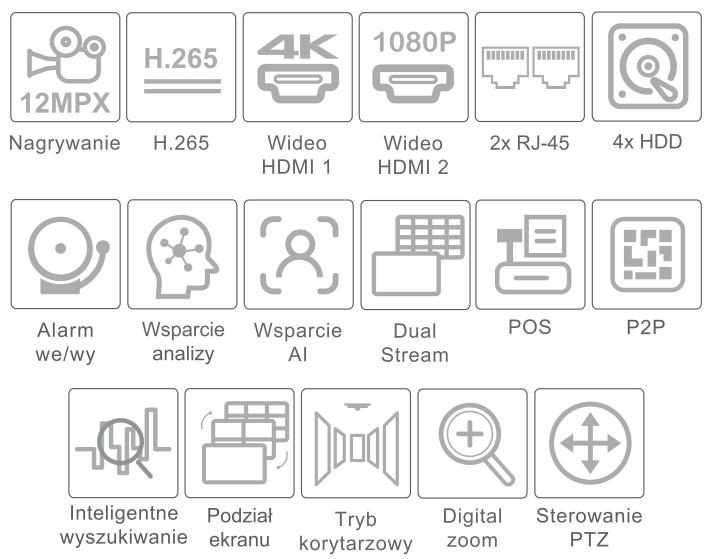 Specyfikacja rejestratora 4K IPOX PX-NVR6484H.