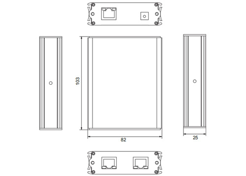 PX-R201ER-POE - Wymiary urządzenia IPOX (mm).