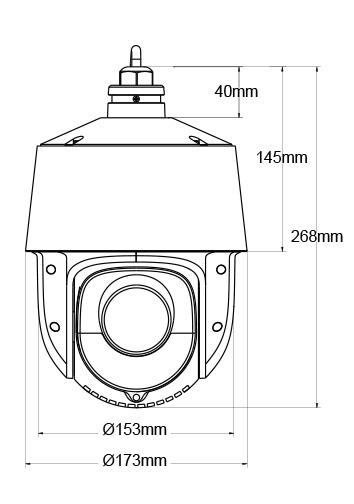 Wymiary kamery IPOX PX-SDIP2420