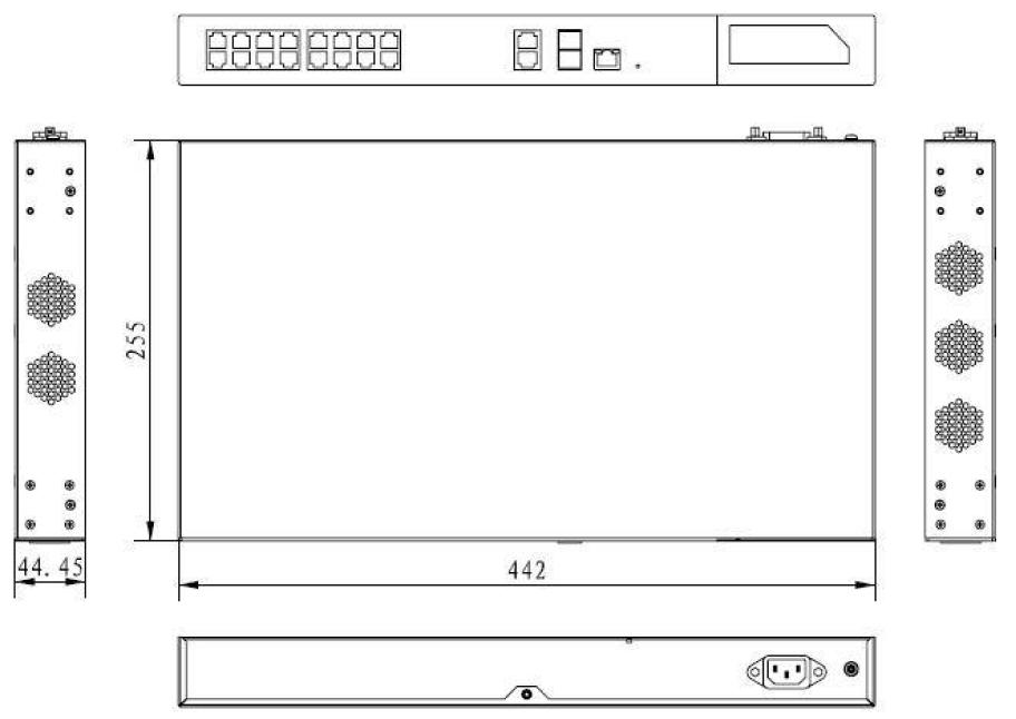 PX-SW16G-SPL2-U4G - Wymiary switcha PoE.