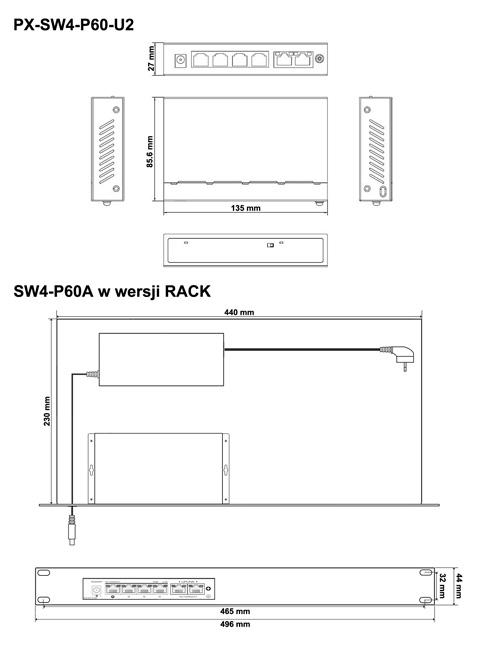 PX-SW4-P60-U2 - Wymiary switcha PoE IPOX.