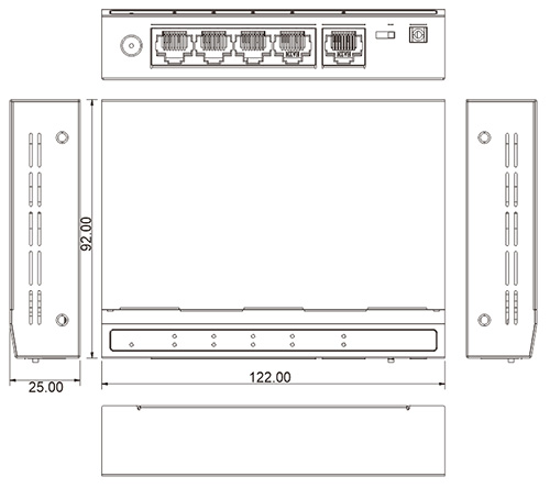 PX-SW4-U1 - Wymiary switcha PoE IPOX.