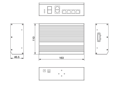 PX-SW4G-P150-U2G - Wymiary switcha PoE IPOX (mm).