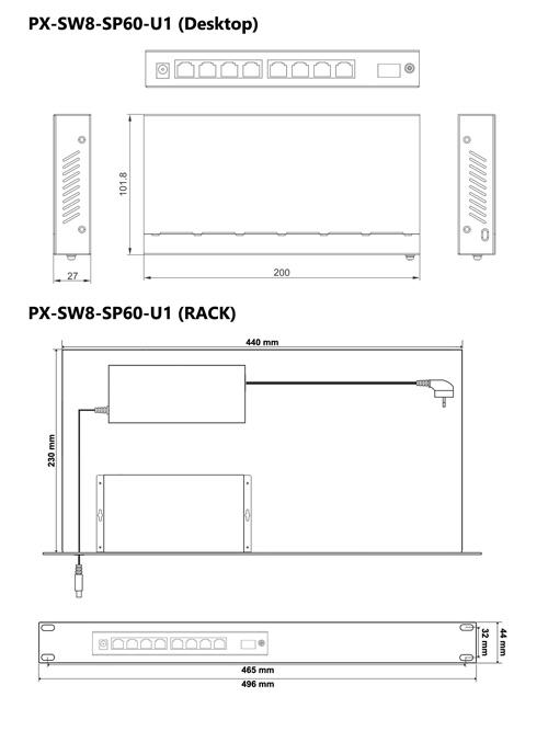 PX-SW8-SP60-U1 - Wymiary switcha PoE.