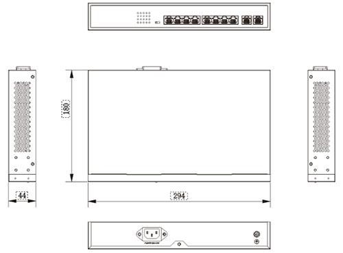 PX-SW8-U2 - Wymiary switcha PoE IPOX.