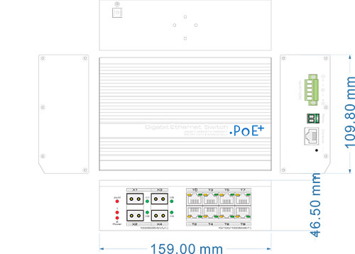 PX-SW8G-P150-U4GL2 - Wymiary switcha PoE.