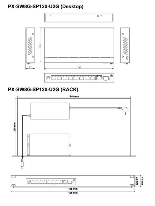 PX-SW8G-SP120-U2G - Wymiary switcha PoE.