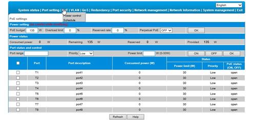 Interfejs graficzny zarządzania L2 switcha.