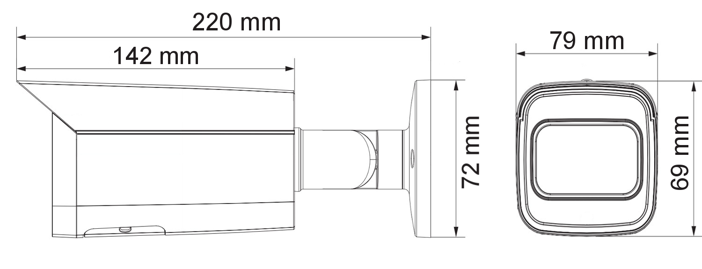 Wymiary kamery podane w mm.