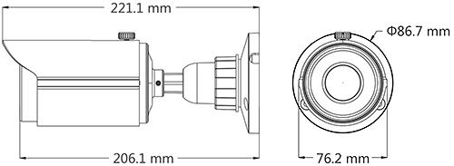 PX-TZH2036SL - Wymiary kamery IPOX.
