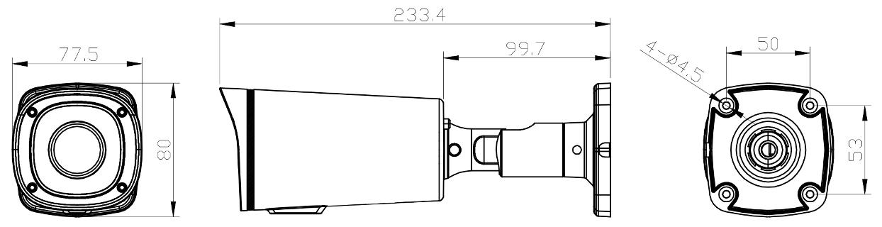 PX-TVIP2004-E - Wymiary kamery.