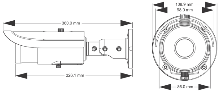 PX-TZIP4025AS-P - Wymiary kamery podane w mm.