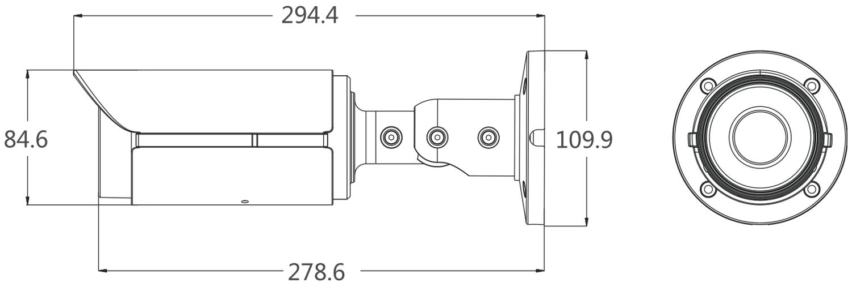 PX-TZIP4048AS-P - Wymiary kamery podane w mm.