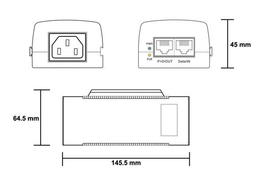 PX-ZP100-PS15 - Wymiary zasilacza PoE.