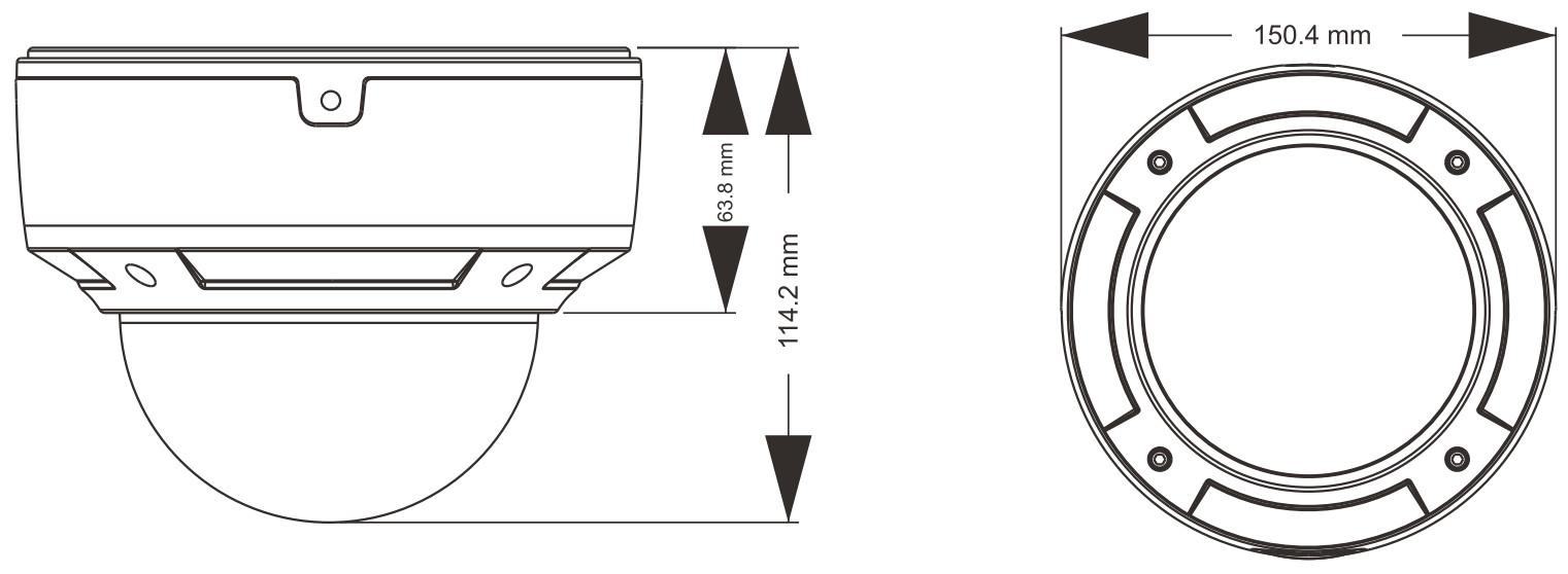 PX-DWVI3030-P - Wymiary kamery podane w mm.
