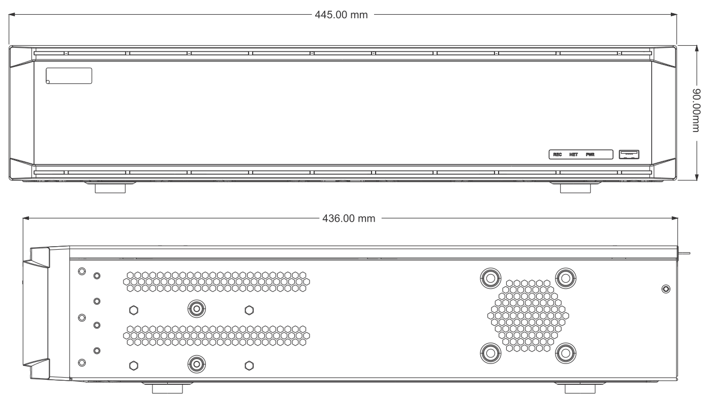 Wymiary NVR-a podane w milimetrach.