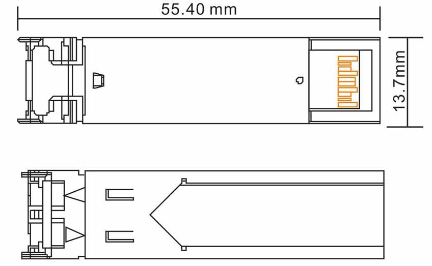 SFP-1.25G-20KM-RX - Wymiary modułu SFP.