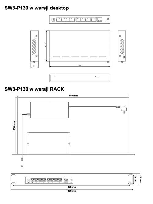 SW8-P120 - Wymiary switcha PoE IPOX.