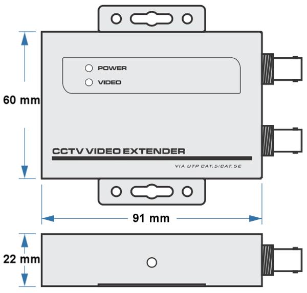 UTP101AR-HD - Wymiary odbiornika wideo IPOX.