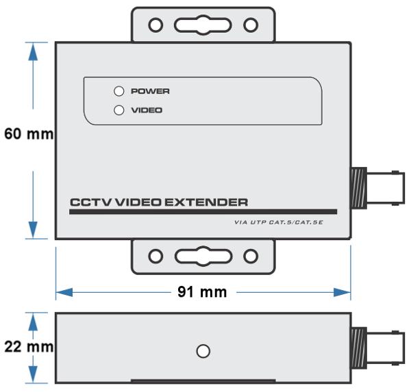 UTP101AT-HD - Wymiary nadajnika wideo IPOX.