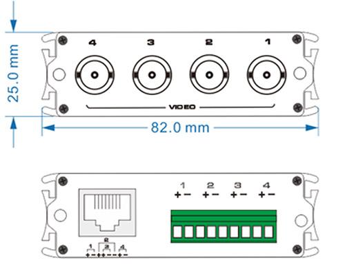 Wymiary transformatora wideo UTP104P-HD.