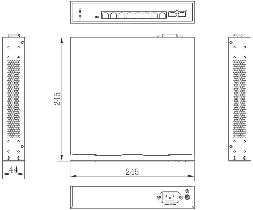 PX-SW8G-SP80-U2G - Wymiary switcha PoE.