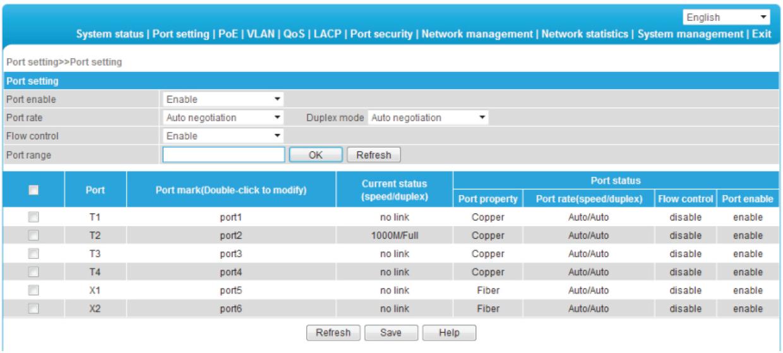Interfejs graficzny zarządzania switcha.