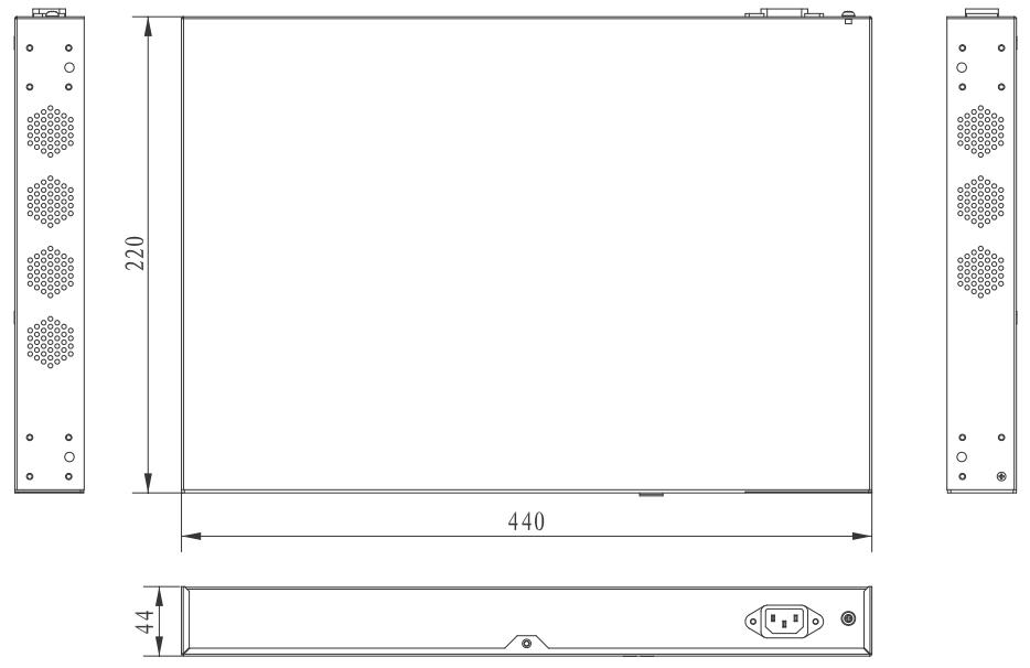UTP7624GE - Wymiary switcha.