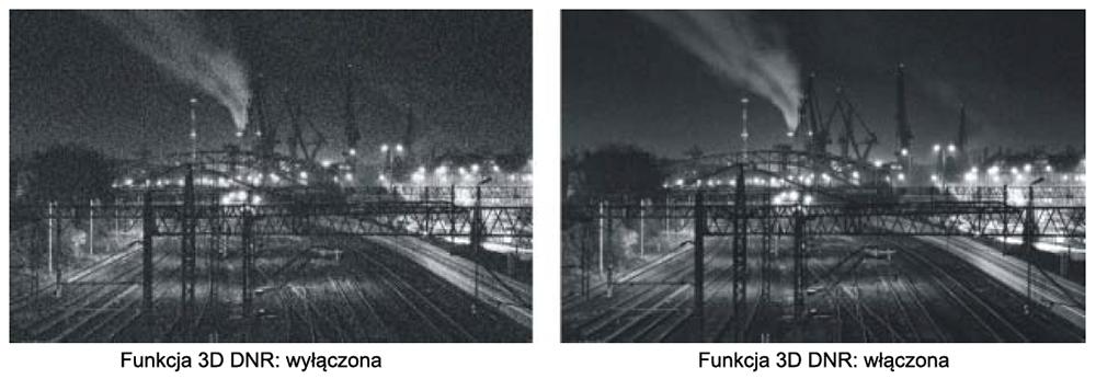 Porównanie jakości obrazu z wyłączoną i włączona funkcją DNR.
