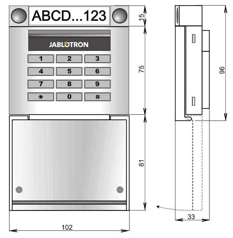 JA-153E - Wymiary klawiatury bezprzewodowej RFiD.