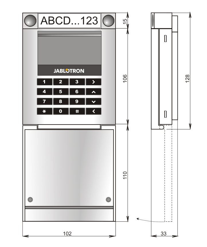 JA-114E - Wymiary klawiatury LCD (BUS).