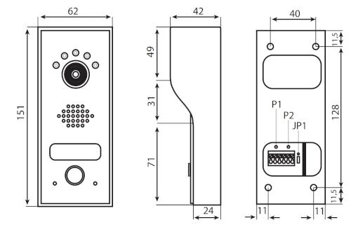 BVC-8000 - Wymiary panelu piętrowego.