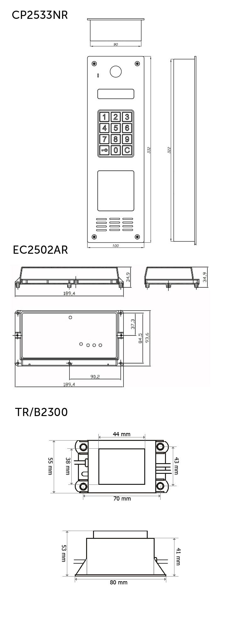 CD2533NR - Wymiary panelu, elektroniki i zasilacza.