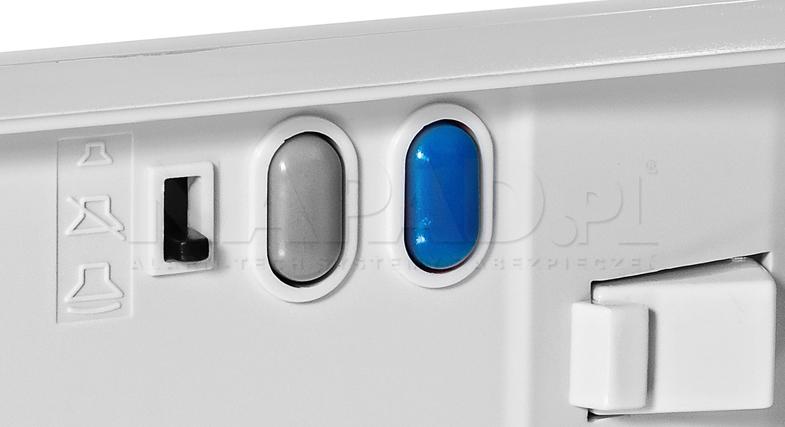 LM-8/W/1-6 - 3 poziomowa regulacja głośności oraz dodatkowy przycisk.