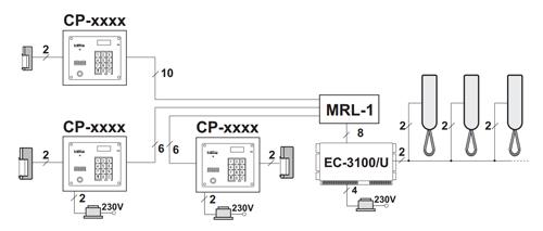 Przykład instalacji domofonu (audio) z wykorzystaniem modułu.