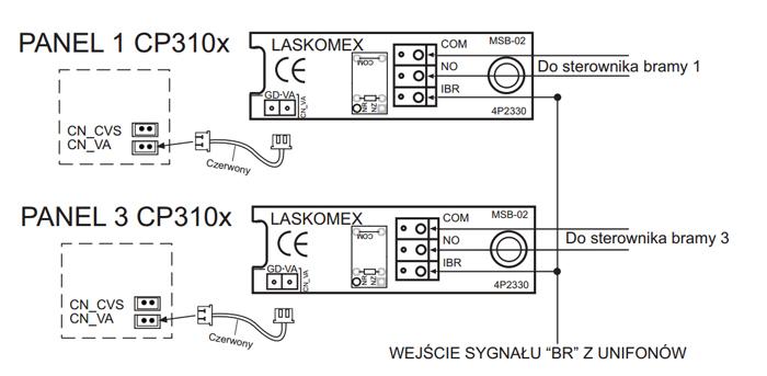 Schemat podłączenia modułu obsługi zamka.
