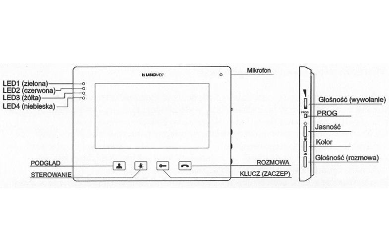 MVC8151 - Opis panelu monitora.
