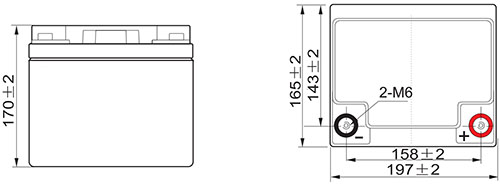 Wymiary akumulatora 45 Ah.