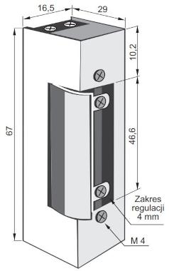 Elektrozaczep 1410RF - wymiary