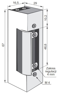 Elektrozaczep 1411RF - wymiary
