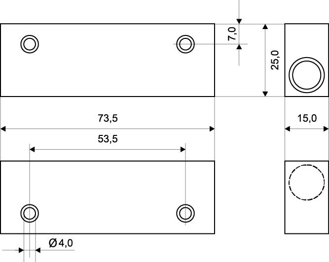 Wymiary czujnika powierzchniowego MC 240-S45.