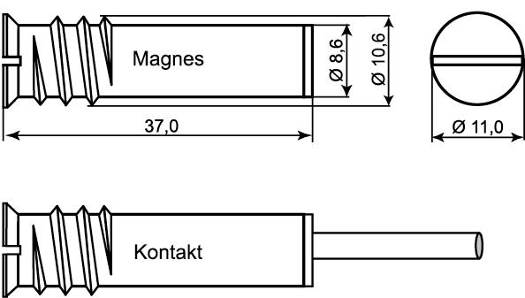 Wymiary czujnika magnetycznego MC-272.