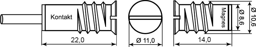 Wymiary czujnika MC 250.