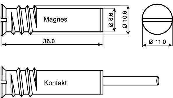 Wymiary czujnika podane w milimetrach.