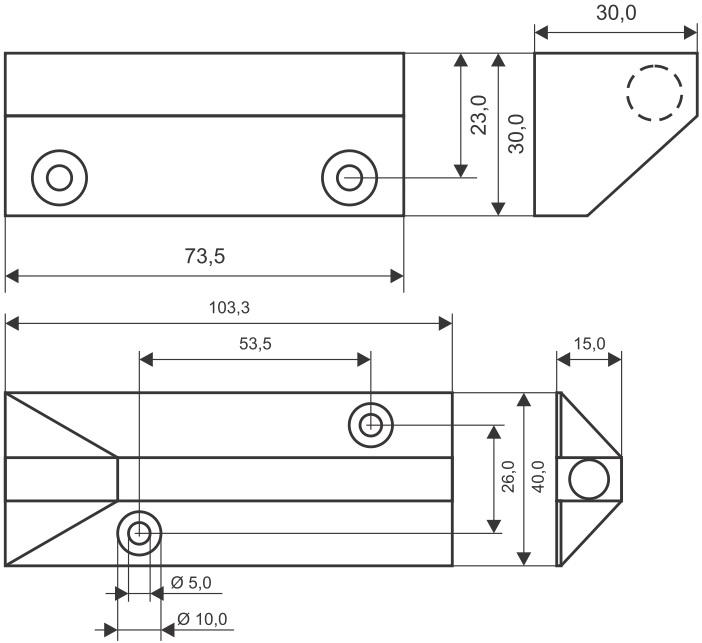 Wymiary czujnika powierzchniowego MC 240-S68.