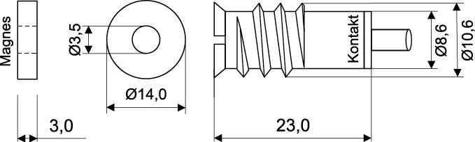 Wymiary czujnika MC 250-M14.