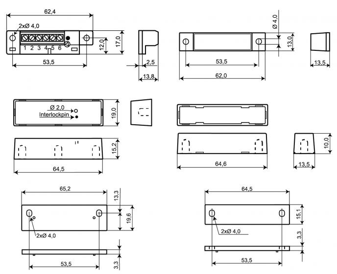 Wymiary czujnika MC-472 podane w milimetrach.