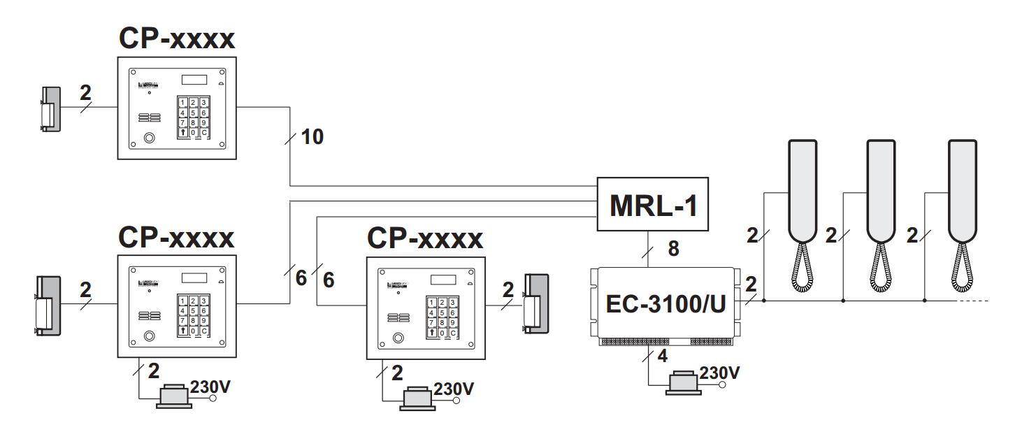 MRL-1 - Przykład instalacji domofonu (audio) z wykorzystaniem modułu.