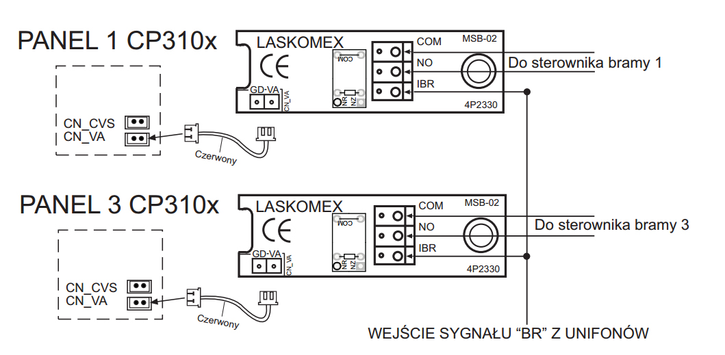 MSB-02 - Schemat podłączenia modułu sterowania bramą.
